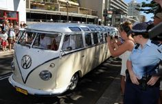 Kelly Slater arrived in a kombi limo to officially announce the Manly-Freshwater beaches as a world surfing reserve.