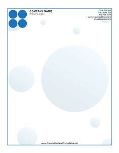 Blue circles accent this printable letterhead. Free to download and print