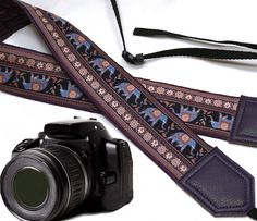 Dark purple DSLR / SLR Camera Strap. Lucky elephant Camera Strap. Camera accessories. For Sony, canon, nikon, panasonic, fuji and other cameras.