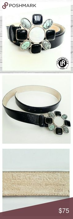 "Leatherock Floral Shell Leather Belt Med Like New Fabulous belt by Leatherock. Buckle is handcrafted in San Diego, CA by master artisans. Made with the finest leather and genuine stones, this is truly a beautiful piece. Black leather belt measures 40"" not including buckle. Belt is in excellent condition, and does have a small dye mark on inside, see pic. This belt is in like new condition with no sign of wear. Bundle and save!  Sorry no trades. Leatherock Accessories Belts"
