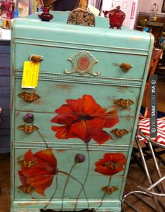 So neat! - Painted poppy waterfall dresser!  awrightdesign | CHECK OUT MORE DRESSER IDEAS AT DECOPINS.COM | #dressers #dresser #dressers #diydresser #hutch #storage #homedecor #homedecoration #decor #livingroom