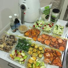 Quick 'snacks'  food prep for the next couple of days. Fruit salad, raw sweet potato, capsicum, pumpkin, zucchini & mushroom to be air fried till crispy. (Takes me 5-10mins) Wombok salad (cabbage, cherry tomatoes, cucumber, crispy noodles, organic coconut chips & coconut aminos soy free seasoning sauce. VIDEOS check out my snap chat chontelduncan