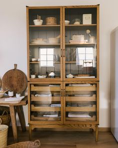 This wooden kitchen display unit is so beautiful - would love to have this in my new kitchen! Wooden Kitchen, New Kitchen, Kitchen Larder, Kitchen Hutch, Old French Doors, Square Kitchen, Devol Kitchens, Kitchen Display, Glass House