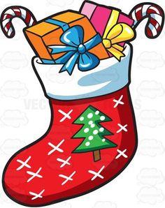 A Christmas sock with presents Christmas Rock, Christmas Colors, Christmas Time, Christmas Crafts, Christmas Decorations, Christmas Ornaments, Christmas Cookies, Christmas Present Images, Christmas Pictures