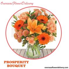 An elegant flower bouquet with Autumn colours. The vase can be ordered separately. #prosperitybouquet #bouquet #flowerbouquet #overseasflowers #overseasflowers #florist #gift #surprise #elegantflowers #autumnflowers #orangeflowers #flowers Elegant Flowers, Fall Flowers, Orange Flowers, Flower Delivery Service, Autumn Colours, Bouquet, Vase, Table Decorations, Gift