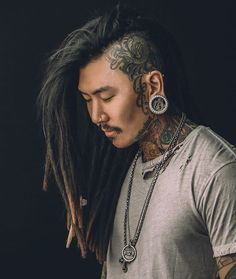 Dread Head White & Asian men wearing dreadlocks with shaved sides all tattooed Asian Men Hairstyle, Look Man, Natural Hair Styles, Long Hair Styles, Head Tattoos, Small Tattoos, Hair Goals, Hair Inspiration, Beautiful Men