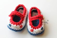 Crochet 4th of July Baby Booties, Mary Janes Baby Shoes, Mary Janes Patriotic -- Ready to ship size 0-3 months.