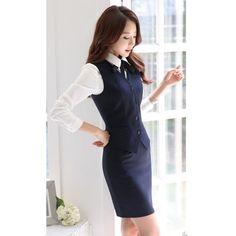 Formal oficina de diseño uniforme mujeres juegos de falda con falda y Top establece azul oscuro damas ropa del desgaste del trabajo OL