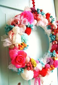 silly old suitcase: Christmas wreaths in candy colours-bits and bobs of sweater and crochet roses, pompoms, bows, etc-inspiration