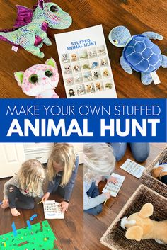 In this post we'll share how you can make your own stuffed animal hunt featuring YOUR kid's stuffed animals! Calming Activities, Animal Activities, Preschool Activities, Animal Themes, Toddler Crafts, Crafts For Kids, Fox Stuffed Animal, Preschool Learning, Toddler Learning
