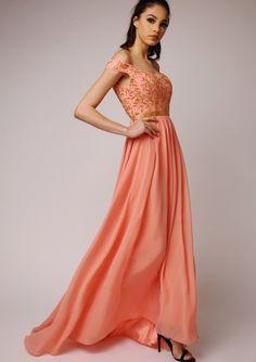 a6219953d8 Virgos Lounge Embellished Maxi Juliana Peach Wedding Cocktail Long Dress 6  34