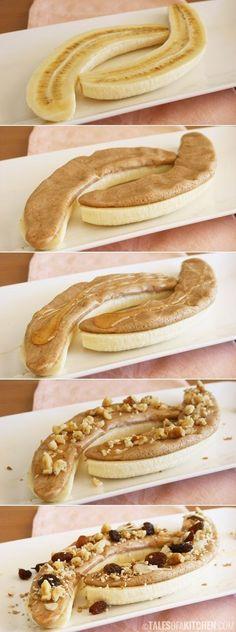 Healthy morning power snack--banana, peanut butter, honey, nuts, raisins. OMG great idea! Seems like a really luxurious treat!