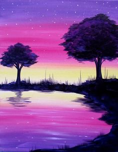 Oil paint – Nehir Parlak – Join the world of pin Easy Canvas Painting, Simple Acrylic Paintings, Acrylic Art, Painting & Drawing, Canvas Art, Oil Pastel Art, Painting Inspiration, Landscape Paintings, Watercolor Paintings