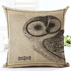 New Arrival Throw Pillow Cushion Home Decor Couch Newspaper With Owl Printed Linen Cuscino Square Cojines Almohadas Rustic Decorative Pillows, Decorative Pillow Cases, Gold Pillows, Couch Pillows, Pillow Arrangement, Change Your Life, Pillow Fabric, Signs, Printed Linen