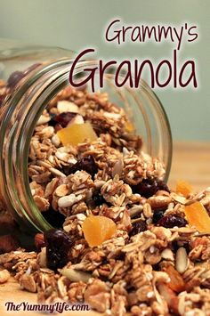 Grammy's Granola. A healthy, crunchy combination of whole grains, nuts, seeds, & fruit. www.theyummylife.com/Granola_Recipe
