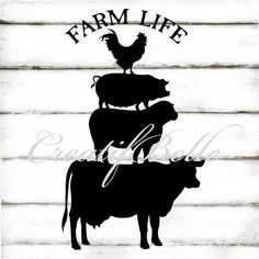 Silhouette Farm Animals Large Instant Digital Download Black and White Printable Rustic Folk Art Graphic Iron on Fabric Transfer Image