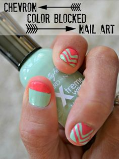 unhas decoradas Mommy Testers Sally Hansen Color Block and chevron nail art with mint and coral nail polish Coral Nail Polish, Coral Nails, Pedicure Tips, Nail Tips, Nail Ideas, Chevron Nail Art, Coral Chevron, Mint Coral, Color Block Nails