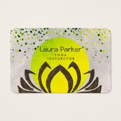 Green Yoga Instructor Lotus Flower Watercolor Business Card - flowers floral flower design unique style