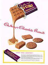 CADBURY'S DAIRY MILK Chocolate Biscuits Original Vintage Advertising 1953