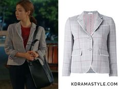 Yoon So Ah (Shin Se Kyung 신세경) wears a light gray plaidjacket in Episode 12 of Bride of the Water God. It istheThom Browne checked cropped blazer. Sold Out. Available in blue:  See more of Yoon So Ah's outfits...