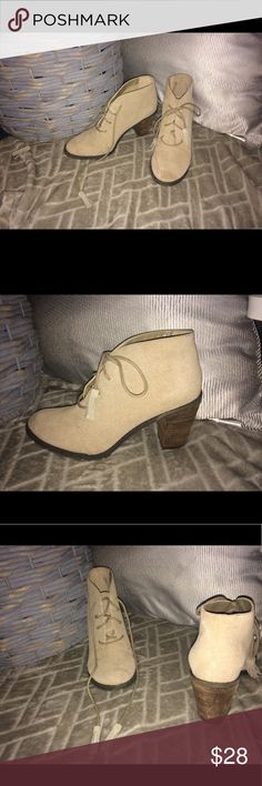 👌🏼Booties😍 OFFERS ACCEPTED🤗 Creamy beige colored booties. 2 1/2 inch heel. They are pretty much brand new, they've been worn 2 times have a scuff on the inside of the left boot 😌. These can be dressed up or down, they are a staple for any woman's closet. 👌🏼 Shoes Ankle Boots & Booties