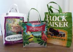 Recycled Feed Sack Pet Food Bag Tote Bag Tutorial. Recycle your birdseed or pet food bag into a terrific tote.