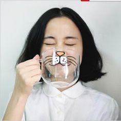 YIZI round handmade glass pig nose beard buck teeth cat 4 models temperature transparent glass-ZZKKO