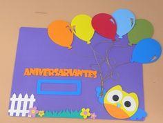 Painel de Aniversariantes do mês Coruja  www.petilola.com.br