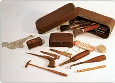 """Miniature tools carved by Archibald Buchanan Zimmerman. He was born August 18, 1861 in Plumville, Pennsylvania. He lived for 100 years. (folk artist """"discovered"""" by Z & A Antiques) Part of a collection of over 100 pieces)"""