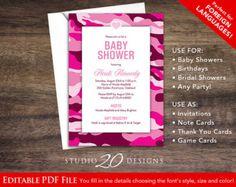 Printable rustic woodland camo baby shower invitation baby baby shower camo invitation etsy filmwisefo Gallery