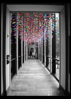 Paper Art Projects, Paper Crafts, Hanging Origami, 1000 Cranes, Paper Birds, Paper Folding, Mobiles, Wedding Decor, Wedding Reception