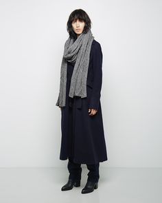Sacai Luck / Trench Coat MM6 by Maison Martin Margiela / Cable Knit Scarf Sacai Luck / Layered Combo Pant Alexander Wang / Gabi Ankle Boot