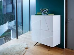Buy the High Gloss Tall Sideboard - Glacier from Gillmore today! A part of our Living Room Storage Furniture range. Tall Sideboard, Contemporary Cabinets, Living Room Storage, Cupboard Storage, Living Room Inspiration, Glass Shelves, Dining Room Furniture, High Gloss, Shelving