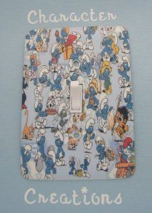 """SMURFS GROUP Standard Metal Light switch Cover (Switch plate Switchplate) by Character Creations. $12.00. High Quality Steel Switchplate with Beautiful Satin Finish. Standard Size Lightswitch Cover (3 1/2"""" x 5""""). Smurfs Group Design. NOT a Sticker.  Image is heat sealed into the switchplate, therefore is completely washable.. Beautifully finishes off any room. This is a fantastic addition to any bedroom, recroom or office and is made from High Quality Steel with a gorg..."""