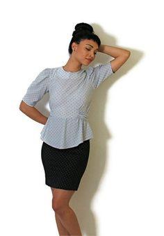 Vintage Peplum Dress Light and Navy Blue Short by YessireePetunia, $32.00
