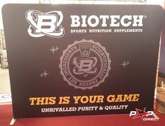 #biotech #sportsnutrition Wall Banner, Exhibition Display, Banner Printing, Sports Nutrition, Banners, Pop, Expo Stand, Popular, Pop Music