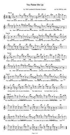 you raise me up sheet music | Hymns and Praise Choruses… and a few fun secular songs…