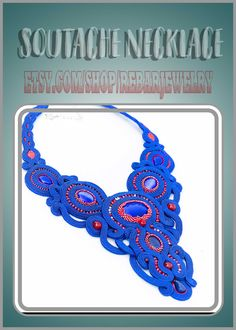 Blue red soutache necklace, exclusive necklace for women, large bead necklace, gift for wife, evening bib necklace, elegant party jewelry Soutache Necklace, Crochet Necklace, Blue Cats, Jewelry Party, Embroidery Techniques, Gifts For Wife, Silver Color, Online Shopping, Just For You