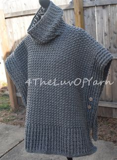 Here's a Womens Crochet Poncho Sweater/Jacket. Its very heat and has plenty of texture with ribbing across the edging and the cowl neck. The buttons are sewn by way of, they don't come undone. Fleece Patterns, Crochet Poncho Patterns, Crochet Jacket, Crochet Cardigan, Knitting Patterns Free, Crochet Shawl, Crochet Top, Poncho Coat, Poncho Sweater