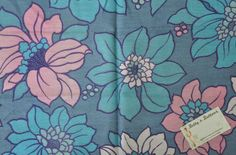 Vintage fabric -  Fat 8th - blues, lilacs, large flowers