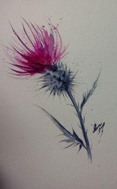 "Clare Innes-Thistle Watercolor 12 x 7 ""(sold and on its way to America) - F . - Clare Innes-Thistle Watercolor 12 x 7 ""(sold and on its way to America) – Françoise Sauvet – W - Watercolor Feather, Watercolor Cards, Watercolor Flowers, Watercolour Tattoos, Watercolour Paintings, Skull Tatto, Neck Tatto, Diy Tattoo, Tattoo Ideas"