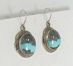 uthentic Native American sterling silver and Ribbon Turquoise wire earrings by Navajo artist Kathy Yazzie