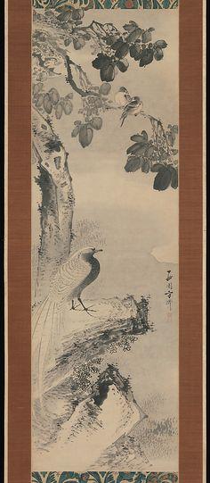 Pheasant beneath Paulownia Tree by Saien Hōsai (Xiyua Fangqi) (1736?–?1795)