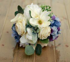 Magnolia Hydrangea french blue and cream wedding bouquet