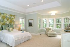 Seafoam green bedroom walls bedroom traditional with white molding green throw pillow Light Green Bedrooms, Green Bedroom Walls, Green Rooms, Bedroom Decor, Bedroom Ideas, Gray Walls, Accent Walls, Bedroom Inspiration, Wall Decor