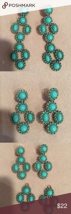 Stella + Dot Turquoise Earrings, adjustable size! These earrings can be made shorter or longer with an attached hook on the back making them ultra versatile. Beautiful and never worn! Stella & Dot Jewelry Earrings