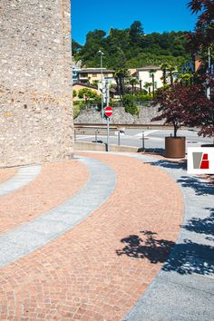 Alpine Rose Cubes Setts and Grey Granite Slabs. Two typical and valuable local materials for the urban regeneration project of Lugano paradiso city center. Stone Pavement, Granite Slab, Lugano, Cubes, Natural Stones, Sidewalk, Urban, City, Rose