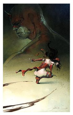 Elektra and Daredevil by Jean Anthony