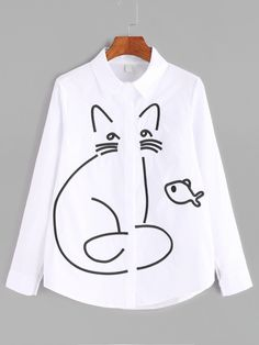 Shop White Cartoon Embroidered Curved Hem Shirt online. SheIn offers White Cartoon Embroidered Curved Hem Shirt & more to fit your fashionable needs.