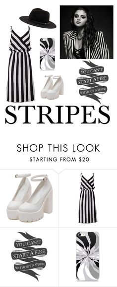 """striped dress #stripes #dress #selena #gomez #hat"" by cloverdaria ❤ liked on Polyvore featuring Marc Jacobs"